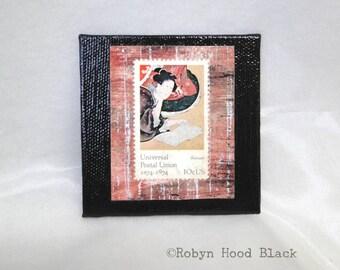 Vintage Postage Stamp Magnet 3 X 3 Universal Postal Union - Hokusai Woman Representing Literacy