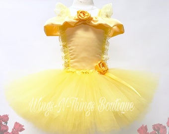 YELLOW PRINCESS DRESS, Tutu Costume, Girls Halloween Costume, Beauty, Gold, Children, Infant, Baby, Child, Kids