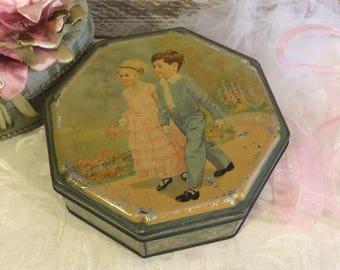 Vintage Wedding Tin, Flower Girl Ring Bearer, 1930s, Wedding Box, Vintage Candy Tin, Cote d'Or, Belgian Tin Box, Antique Tin Box, Engagement