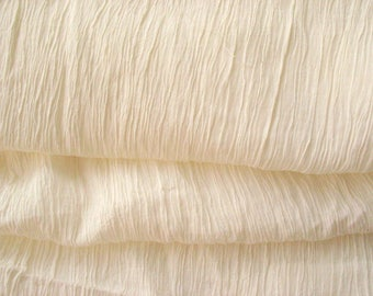 Cream Cotton Crepe Dyeable Fabric - Stretchable Cotton Fabric- Solid White Cotton Fabric