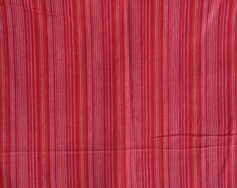 Red Striped Homespun  Cotton Light Weight Sheer  Stripes Cotton Fabric Sold by Yard