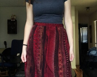 Tribal Print Raw Edge High Waisted Skirt