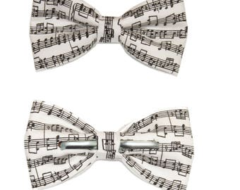 Musical Notes / Sheet Music Musician Clip On Cotton Bow Tie Bowtie - Choose Men's Boys or Toddler Bowtie