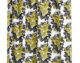 Curtain panel white yellow black roses Floral Scandinavian Modern Decor Cafe curtain Kitchen valance , runner , napkins available,great GIFT