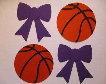 6 Basketballs or Bows (3 size options) Gender Reveal Decorations, Cutouts, for Centerpiece, Diaper Cake, Baby Shower, Purple Orange