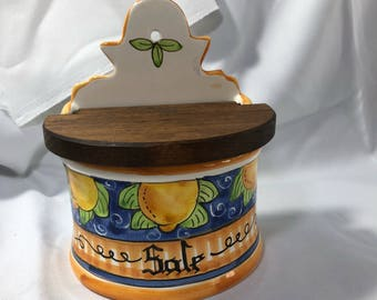 Vintage Italian Salt Saver Keeper Ceramic Wood Lid Yellow Blue SALE Hand Painted made in Italy