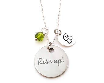 Rise Up Charm - Initial Necklace - Personalized Necklace - Sterling Silver Jewelry - Gift for Her