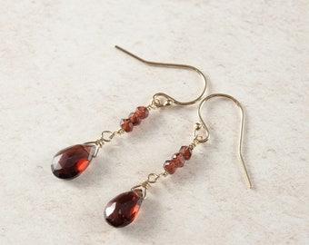 Garnet and Gold Drop Earrings, Garnet Drops, January Birthstone, Dainty Delicate Gemstone Earrings