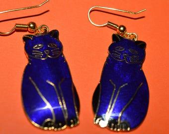 Vintage Cloisonne Royal Bright Blue Cat Earrings 1980s