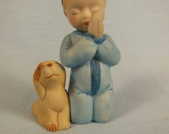 Vintage Holly Hobbies Friend-Robbie Hobbie-Saying His Bedtime Prayers-with His dog By His Side