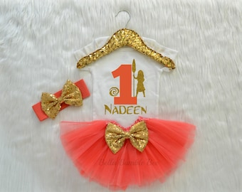 Baby Girl First Birthday Bodysuit, Disney Moana Inspired Theme, One Coral Glitter, Headband Tutu outfit gold bow Short long sleeve 339