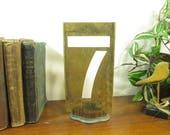 Brass Number 7, 8 1/4 Inch Brass Stencil Seven
