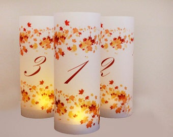 set of 14 Fall Wedding Table numbers, fall luminaries, autumn wedding, autumn table numbers, wedding luminaries, leaf wedding decor