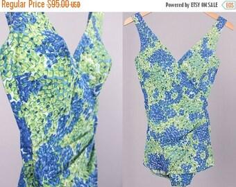 40% SALE Vintage 1950s Swimsuit // Bullet Bra Maillot One Piece Bathing Suit // Swimwear Size XS- Small