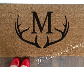 Customized Coir Doormat with Antlers,  Handpainted Doormat, Doormat, Custom Doormat, custom Mat, Custom Rug, Monogram Doormat, Monogram Mat