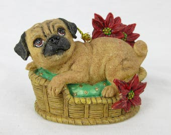Vintage Pug Puppy Christmas Tree Ornament / Puppy in Basket / Gift for Dog or Pug Lover, Owner / Danbury Mint Pugs and Kisses
