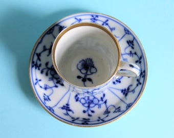 Antique German Tettau Blue and White Porcelain Demitasse Cup and Saucer/Straw-flower Pattern