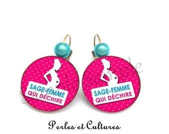 Pink cabochon earrings midwife - blue white polka dot pregnant woman
