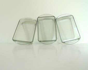 Holmegaard Kabaret Smoke Glass Dish - Set of three Denmark 1960s Mid Century Modern smoked box