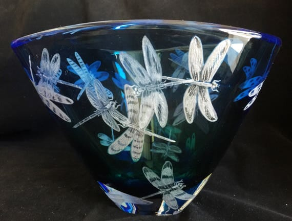 Hand Engraved Bowl, Dragonflies, HandBlown, Engraved, Homedecor, Wedding Gifts, Birthday, Housewarming Gift