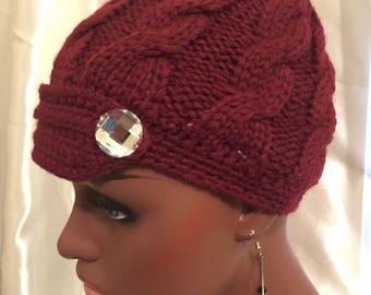 Satin Lined Hat-Cranberry -Snug Fit Beanie
