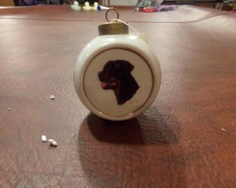 Rotweiller Glass Christmas Ornament