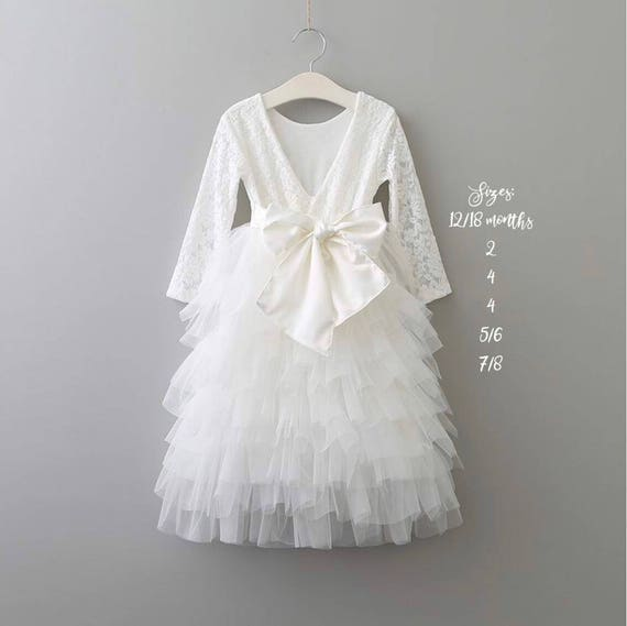 White Flower Girl Dress, White Lace Wedding Dress, Lace Flower Girl Dress, Long Sleeve Flower Girl Dress, Birthday Dress, White Tulle Dress