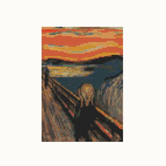 MINI Cross Stitch Pattern PDF - Scream - Edvard Munch - Abstract Cross Stitch - Instant Download (TAS137)
