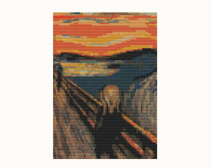Scream by Edvard Munch by Abstract Cross Stitch by Art Cross Stitch by Instant Download (TAS137)