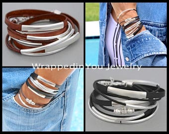WRAP Bracelet - Boho Leather Wrap Bracelet - Adjustable Genuine Leather Cords Tubes Triple Wrap Around w/ Movable Silver Focal Beads - 769
