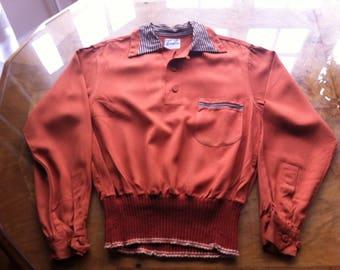 Vintage 40s/50s Perry Como gabardine  Gaucho Sportshirt L Rockabilly.