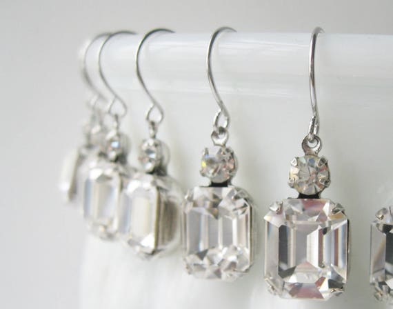 Crystal Bridesmaid Earrings SET OF 4 PAIRS Silver Plated Crystal Wedding Swarovski Elements Bridal Gift Set Art Deco Rhinestone Earrings