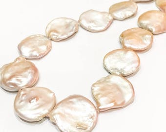 Large Pink Pearl Necklace on 925 Silver Clasp