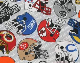 Vintage sports helmet NFL and AFL foootball Cotton fabric, 49er Giants teams Grey cotton fabric.