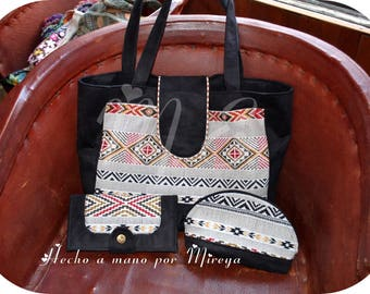 Printed fabric and Black Suede Tote ethnic