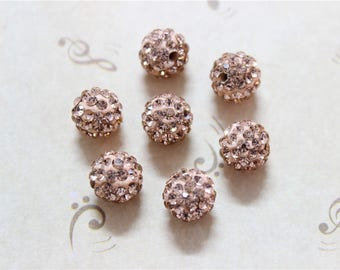 10 polymer Shamballa 10mm champagne colored Crystal beads