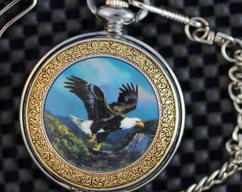 Franklin Mint Precision Pocket Watch • The Alaska Chilkat Bald Eagle Preserve • Free Shipping! • Silver Finish • Working and Ready for Use