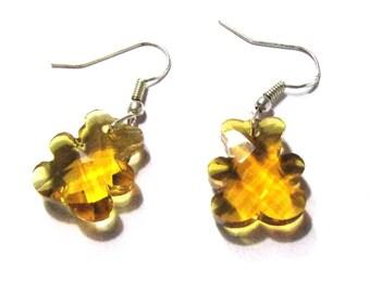 Silver 925 Teddy bear light Topaz faceted crystal earrings