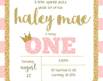 Pink & Gold First Birthday Invitation Digital File ONLY