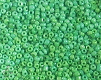 Dark green seed beads opaque glass round 2mm