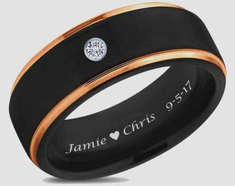Personalized Tungsten Black & Rose Gold Stepped Edge Ring Custom Engraved, Promise Rings, Wedding Bands, Couples Ring Set Engraved Free