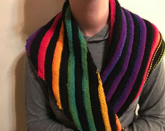 Black and rainbow caterpillar scarf colorful tapered knit handmade accessory