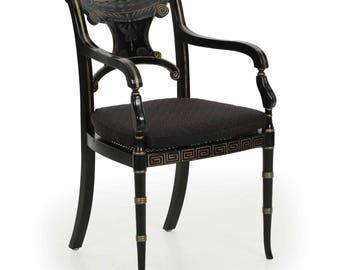 Regency Black Ebonized Painted Arm Chair, 20th Century