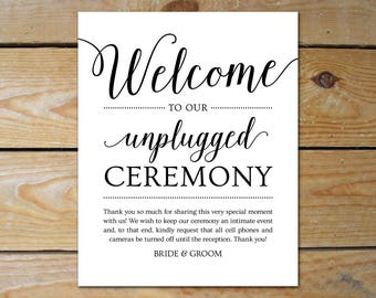 Wedding Unplugged Ceremony Sign Printable // Unplugged Wedding Sign // Unplugged Sign, Editable Wedding Sign Template