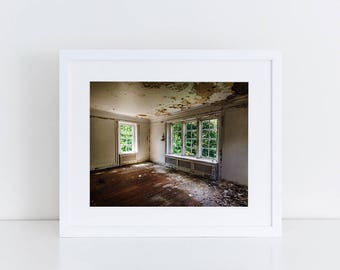 Abandoned Mansion Fine Art Photography Abandoned Photo Decaying Building Urban Decay Photo Abandoned Room White Green Brown Original Artwork