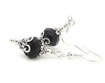 Black Crystal Bridal Sets Black Bridesmaid Earrings Matching Bridal Sets Crystal Dangles Black Wedding Jewellery Bridal Party Gifts