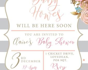 Gold foil, stripe + blush floral Roses Baby Shower invitation digital Printable
