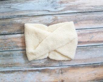 Knit turban headband, twisted knit headband, in Cream - Ready to Ship - The Amelie
