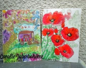 Lot de 2 cartes postales aquarelle peinture-coquelicots peinture-roulotte bohème-cartes originales