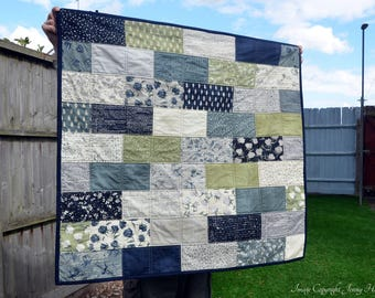 Lap quilt - Wordsmith by Janet Clare.  Small throw quilt. Floral nature modern home decor neutral earthy fabric cosy quilt UK